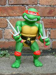 Giant Size Raphael (The Moog Image Dump) Tags: playmates 1989 tmnt teenage mutant ninja turtles raphael twin sai toy figure mirage