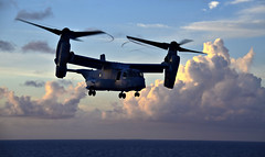 Close to the Wasp (sjrankin) Tags: usswasp sailors osprey usswasplhd1 pacificocean japan jpn 14september2018 edited navy unitedstatesnavy usn sunset aircraft clouds mv22 180908nri8840375