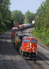 Fresh GE leading (Michael Berry Railfan) Tags: cn3822 ge generalelectric es44ac train freighttrain cn120 intermodaltrain intermodal stacktrain doublestacks cofc villestpierre lachine montreal montrealsub quebec