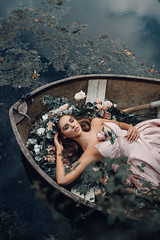 The Lady of Shalott (Adam Bird Photography) Tags: adambirdphotography adambird boat portrait dress fairytale gown flowers painting water lake above flickr explore beauty