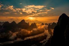 Li River (Rod Waddington) Tags: china chinese guangxi li river mountains clouds landscape water sunrise outdoor village nature morning
