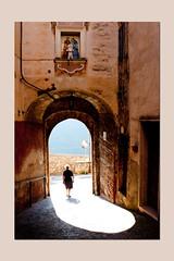 town's mood at the morning, Collepardo, Lazio (sandrorotonaria) Tags: old woman light white town mood collepardo ciociaria