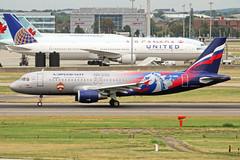 VP-BWD 3 Airbus A320-214 Aeroflot Russian Airlines (CSKA Moscow logojet) LHR 08SEP18 (Ken Fielding) Tags: vpbwd airbus a320214 aeroflotrussianairlines cskamoscowlogojet aircraft airplane airliner jet jetliner