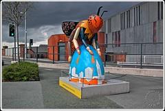 Manchester's Buzz by Tom Brader (zweiblumen) Tags: manchestersbuzz beeinthecity deansgatecastlefield metrolink city manchester greatermanchester england uk hdr sculpture art canoneos50d polariser zweiblumen
