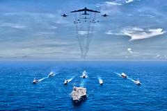 Aircraft Carrier and B-52, variant (sjrankin) Tags: ussronaldreagancvn76forwarddeployedaircraftcarrierca valiantshield ussronaldreagancvn76 unitedstates us 18september2018 edited usn unitedstatesnavy primage 180831npj6260825 usaf unitedstatesairforce b52 planes jets bombers fighters