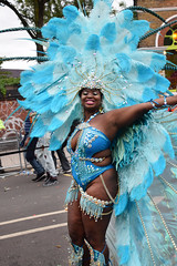 DSC_8234 Notting Hill Caribbean Carnival London Exotic Colourful Blue Costume with Ostrich Feather and Pearl Headdress Girls Dancing Showgirl Performers Aug 27 2018 Stunning Ladies Big Beautiful Woman BBW (photographer695) Tags: notting hill caribbean carnival london exotic colourful costume girls dancing showgirl performers aug 27 2018 stunning ladies blue with ostrich feather pearl headdress big beautiful woman bbw