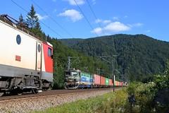 Two trains near Sinaia (Nikolay Kozarski) Tags: cfr unicom freight train sinaia romania craiova sky railroad locomotive calatori predeal brasov constanta 400024