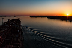 My Office View (langdon10) Tags: canada laurentiadesgagnes quebec stlawrenceriver sunset water calm ship shoreline tanker