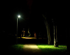Luci nella notte (marcus.greco) Tags: light trees green park night path