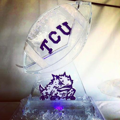 @tcufootball means business this weekend! #utvstcufootball #tailgateparty #iceluge #fullspectrumice #thinkoutsidetheblocks #brrriliant - Full Spectrum Ice Sculpture