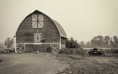 P8210003BW (Whidbey LVR) Tags: lyle rains lylerains olympus em5ii black white sepia farm skagit county washington pugetsound puget barn building smoke monochrome