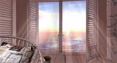 """"""" Let the sunshine in... """" (maka_kagesl) Tags: house room water sea ocean wave waves window bed pillow sl secondlife second life videogame game gaming virtual views view sky air cloud clouds sun wood"""