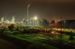DEZA, a.s., Lhotka nad Bečvou, 06.01.2018 (miroslav.volek) Tags: factory industrial night nights darkness car coach smoke light lights smokestack chimney railway station