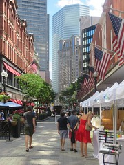 Downtown Boston (moonjazz) Tags: boston city life streets market business downtowncrossing downtown buildings skyscraper flags usa busy newengland urban woman dress red walking intersection metropolitan tourist eastcoast massachusetts