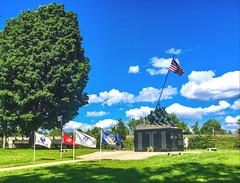 National Iwo Jima Memorial (PJD-DigiPic) Tags: pjddigipic nationaliwojimamemorial newbritainconnecticut flag statue blue gree flags memorial cloudsstormssunsetssunrises