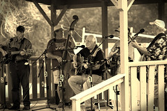Two Rivers Bluegrass Festival. 2 (EOS) (Mega-Magpie) Tags: canon eos 60d outdoors two rivers bluegrass festival music coon fox hunt club harrison il illinois usa america sepia people person lady man dude gal fella musicians mountain grass