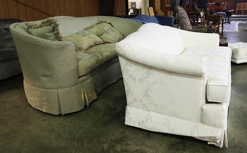 Devonshire curved high back sofa pictured behind white ($168.00)