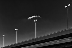 A talk between cloud and lamp (Leipzig_trifft_Wien) Tags: abstract minimalism sky line form shape pattern structure vertical diagonal urban bridge vienna black white blackandwhite bnw noir blanc