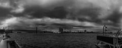 Penns Landing Skyscape (dweible1109) Tags: delawareriver clouds sky landscape blackwhite bw monochrome panoramic pano philadelphia pennsylvania penn'slanding