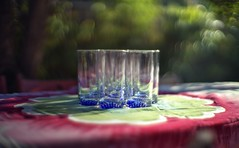 Anticipating guests for the party in the backyard (PeterThoeny) Tags: cupertino sanjose california siliconvalley sanfranciscobay sanfranciscobayarea southbay table light lightsandshadows drink glass outdoor tree dof depthoffield shallowdepthoffield blur bokeh sony a7 a7ii a7mii alpha7mii ilce7m2 fullframe vintagelens dreamlens canon50mmf095 canon 1xp raw photomatix hdr qualityhdr qualityhdrphotography fav100