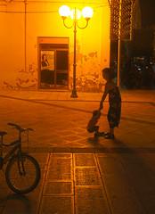 Play A Bit Longer (Coquine!) Tags: christianleyk italy italia italien pulsano puglia apulia apulien night nacht fahrrad bicycle lantern laterne play spiel spielen mother kid mutter kind
