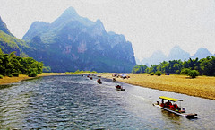 Guilin : Nine Horses Galloping on Fresco Hill 桂林 九馬畫山  . . . (Clement Tang **busy**) Tags: lijiangriver guangxi ninehorsesgallopingonfrescohill theninehorsesmuralhill travel mistysky autumnmorning nature nationalgeographic grandemaregroup waterscape landscape concordians closetonature speedboats oilpaintingfilter china 桂林 九馬畫山 快艇 漓江 廣西 桂林印象 guilin scenicsnotjustlandscapes inexplore