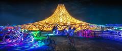 Galaxia Temple at Night (Mike Filippoff) Tags: burningman burningman2018 galaxia temple colorful night illumination bikes glow beautiful lighttrails longexposure sublime playa nevada desert