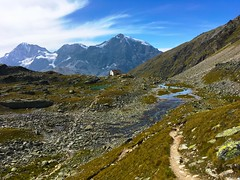 Approaching Rifugio Serristori / Düsseldorfer Hütte from the Zay valley (echumachenco) Tags: panorama view glacier snow ice summit peak cloud sky zaytal valledizai valley iphone italien italia italy altoadige südtirol southtyrol hiking summer august sulden solda ortles granzebrù königspitze ortler ortlergruppe mountainrange mountainside mountain rock stone grass water stream river brook landscape outdoor alps
