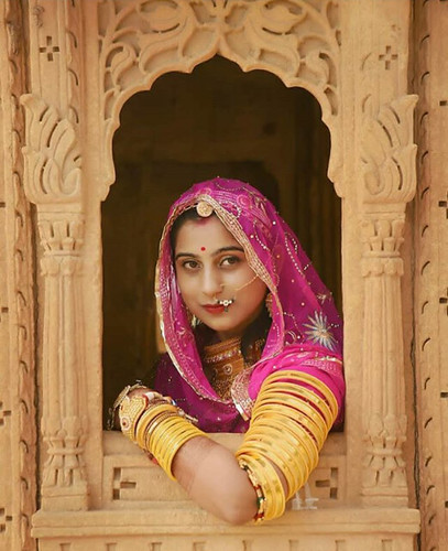 Rajasthani lady in traditional  attire (india)