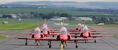 The Red Arrows lining up for runway 12 at Prestwick as they prepare to depart for Ayr to close the Scottish International Airshow.2/9/18 (BS Images.) Tags: theredarrows royalairforce raf military hawk airport aircraft aviation ayrshire airshow egpk glasgowprestwick gpa prestwick prestwickairport pik southayrshire scotland