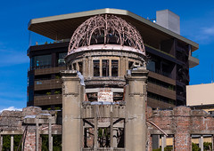 The Genbaku dome also known as the atomic bomb dome in Hiroshima peace memorial park, Chugoku region, Hiroshima, Japan (Eric Lafforgue) Tags: abombdome architecture asia atomicbomb buildingexterior builtstructure chaos chūgokuregion cityscape colorimage damaged day destruction dome enolagay famousplace hiroshima hiroshimapeacememorial hiroshimapeacememorialpark history horizontal japan japan18301 japaneseculture memorial monument nopeople nuclearweapon oldruin outdoors photography symbolsofpeace thepast tourism weaponsofmassdestruction worldwarii chugokuregion jp