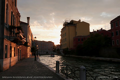 Venice sunset #1 (srkirad) Tags: travel venice italy street canal sunset buildings houses water sea bridge boat balcony clouds sky evening dusk