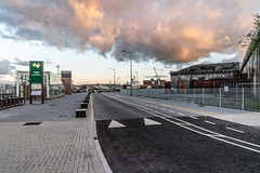 THE REFURBISHED KENT RAILWAY STATION AND NEARBY [PHOTOGRAPHED AT SUNSET IN SEPTEMBER 2018]-144409 (infomatique) Tags: thomaskent trainstation memorial glanmireroadstation hogansquay transport publictransport busservice bikehire williammurphy sunset sony a7riii streetphotograpgy irishrail cie