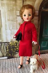 On the Avenue (Foxy Belle) Tags: doll vintage red suit 4 1950s eloise ellie jackie kennedy 15balhhibelldollandtoycompanybrooklyn ny195258