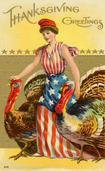 Thanksgiving Greetings from Columbia and Her Turkeys (Alan Mays) Tags: ephemera postcards greetingcards greetings cards paper printed thanksgiving holidays november turkeys birds poultry animals patriotic flags stars stripes columbia women clothes clothing dresses libertycaps hats personifications patting touching borders illustrations yellow gold red blue white 1909 1900s antique old vintage typefaces type typography fonts