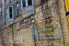 Ghost Signs, Bay City, MI (Robby Virus) Tags: baycity michigan mi ghost sign signs signage mack wallpaper wall paper office supplies school painted ad advertisement faded forgotten brick alley