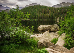 Bear Lake (SahilH) Tags: sonyalphadslr slta99 colorado landscape lake rock rockymountain nationalpark bearlake rmnp mountains water trees usa travel tranquility