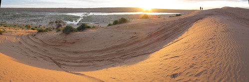 Big Red sunset Panorama out west to the Simpson Desert