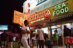 Coney Island By Night (-»james•stave«-) Tags: brooklyn newyork nyc coneyisland street city night neon sign nathan's restaurant takeout nikon d5300