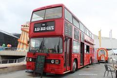 The red bus cafe (anthonymurphy5) Tags: b750gsc leylandolympianecw exlothianbuses albertdockliverpool redbus doubledeckerbus bus travel transport outside cafe