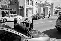 Kicking Back With a Good Book (Michael William Photos) Tags: blackandwhite bw street streetphotography people newyork reading read book books glasses fujifilm
