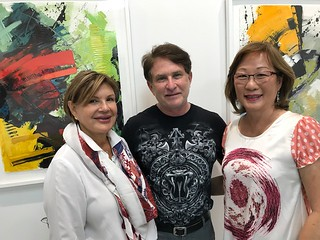 POP UP Gallery owner Ninoska Huerta with artists Cristian Eterovic and Mai Yap at the gallery opening in Coral Gables