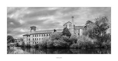 The Old Silk Mill #2 (AnthonyCNeill) Tags: old silk mill alt gebäude bauwerk viejo edificio fabrica historical brick derby british river derwent industrial industry black white schwarz weiss blanco negro noir blanc monochrome mono fuji x100f fujifilm trees sky clouds cielo himmel wolken nubes nuages tower windows fenêtre fenster