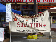 Socialism is the Solution (knightbefore_99) Tags: commercialdrive thedrive 2018 car free day italian sol sun eastvan vancouver party putin socialism communist league banner young