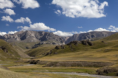 Kyrgyzstan (Joost10000) Tags: grass valley mountains mountain river landscape landschaft sky clouds field outdoors wild wilderness kyrgyzstan asia centralasia canon eos canon5d rocks ice glacier travel adventure