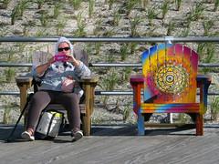 A Boardwalk Moment (Multielvi) Tags: atlantic city new jersey nj shore boardwalk adirondack chair woman candid