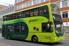 LK58 EDL, Friar Street, Reading, March 21st 2015 (Southsea_Matt) Tags: lk58edl 37275 wright eclipse gemini volvo b9tl first greenline friarstreet reading berkshire england unitedkingdom march 2015 spring canon 60d sigma 1850mm transport bus omnibus vehicle