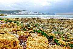 Seaford Head (Geoff Henson) Tags: rocks beach tide sea ocean water cloud cliffs hills seaweed pools