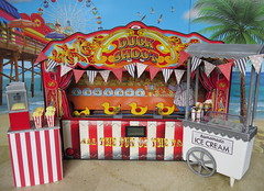 The fair (Foxy Belle) Tags: doll vintage barbie diorama summer carnival fair 16 scale playscale food beach sand boardwalk ice cream stand game life background ferris wheel