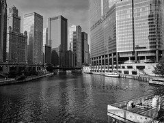 Humid (ancientlives) Tags: chicago chicagoriver illinois usa il travel river humid sunshine bluesky buildings towers architecture downtown loop trumptower riverwalk riverboat cruise skyline skyscrapers sky blackandwhite bw mono monochrome sunday august 2018 summer